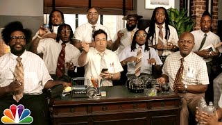 Jimmy Fallon, Migos & The Roots Sing ″Bad and Boujee″ (w/ Office Supplies)