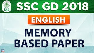 Memory Based Paper   SSC GD 2018   English   Live at 1 PM