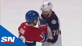 Marcus Foligno & Max Domi Have Pleasant Conversation Before Dropping The Gloves