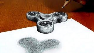 3D Trick Art on Paper, Floating Fidget spinner, Try to do