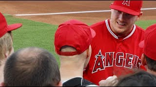 Mike Trout promising me a bat at Globe Life Park!