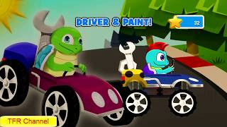 Fun Kids Car Racing Game : Turtle Car - Part 1 / Game For Kids - Nursery Rhymes Songs For Children