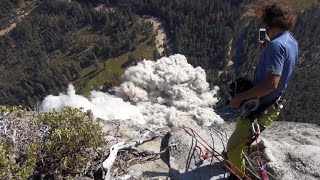 Veteran climber captures terrifying of rock slides in Yosemite National Park