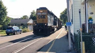 Street Running Trains, Looong Loaded Coal Train & CSX Local Freight In Center Of Roadway!