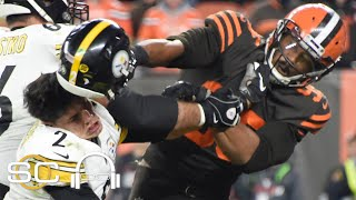 Reacting to Myles Garrett striking Mason Rudolph with helmet in Browns-Steelers brawl | SC with SVP