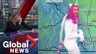 Halloween 2019: News anchors in tears as meteorologist shows up in mystical unicorn costume