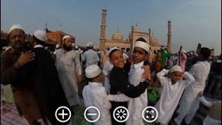 360 Degree View Of Namaziz Greeting Eid Mubarak After Prayers