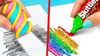 10 DIY Weird School Supplies You Need To Try / 10 School Pranks!