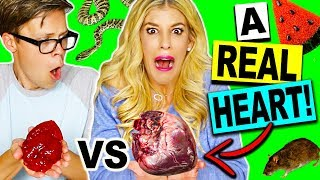 REAL FOOD VS GUMMY FOOD CHALLENGE! (*EATING A REAL HEART!*)