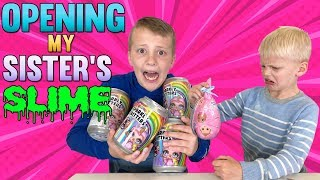 Opening LOTS of My Sister's Slime & Squishies!