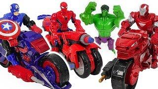 Marvel Avnegers Mashers Iron Man, Spider-Man transforming motocycle with Hulk! Go! #DuDuPopTOY