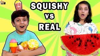 SQUISHY VS REAL FOOD CHALLENGE #Funny Eating Challenge Aayu and Pihu Show