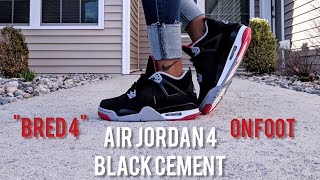Early Look at GS AIR JORDAN RETRO 4 BLACK CEMENT aka BRED 4 - On Foot + Outfit Look