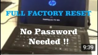 FACTORY RESET HP Laptop/Netbook WINDOWS 8/10 w/o the user password !!