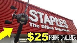 $25 Staples Fishing Challenge!! (Surprising!)