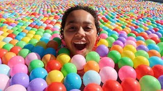 BALL PIT IN OUR SWIMMING POOL!!