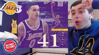 KUZMA DROPS 41 POINTS IN 3 QUARTERS! LETS GET IT LETS GO! LAKERS PISTONS REACTION