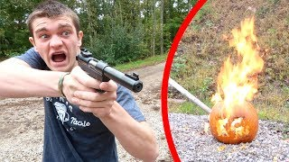 CARVING MY PUMPKIN WITH BULLETS!