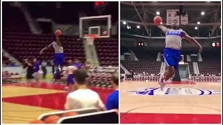 Zion Williamson has dunk-off from the free throw line with his teammate Rj Barrett