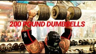 ONLY PERSON TO EVER OVER-HEAD-PRESS 200 POUND DUMBBELLS!!!