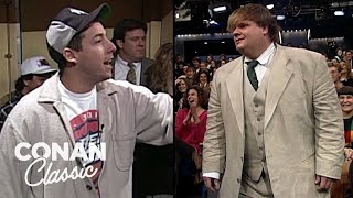 Adam Sandler & Chris Farley On ″Late Night With Conan O'Brien″ 04/06/95