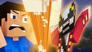 FLOATING VOLCANO DESTROYS SQUEAKERS HOUSE ON MINECRAFT (minecraft trolling & griefing)