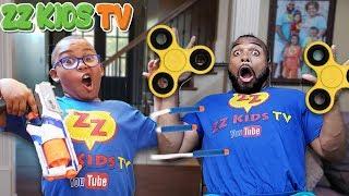 Fidget Spinner Nerf Battle! (Who Will Win?) ZZ Dad vs ZZ Kid