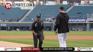 Secretary of State Jesse White ceremonial pitch at Chicago White Sox vs  Houston Astros