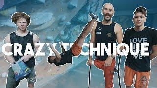 Crazy New Climbing Move - Upside Down - Drop Knee/Toe Hook - One Legged Climbing ( 4k )