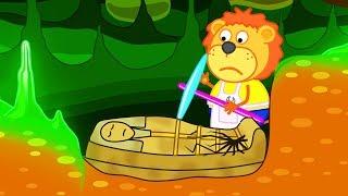 Lion Family Mummy Sarcophagus in Underground Cartoon for Kids