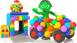 SUPERHERO RAINBOW CAR ❤ SUPERHERO PLAY DOH CARTOONS FOR KIDS
