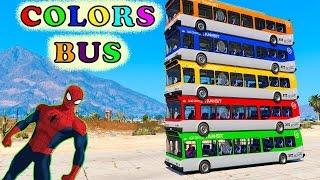 Color Cars Bus & Limousine Spiderman Cartoon For Kids & Fun Colors