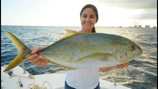 Giant Yellow Jack Caught Snapper Fishing!! Catch Clean and Cook Family Dinner!