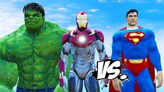 HULK & IRON MAN VS SUPERMAN - EPIC SUPERHEROES BATTLE