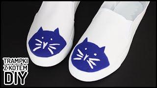 Trampki z kotem - pomysł na tenisówki DIY