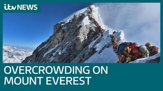 Striking image reveals reality of overcrowding on Mount Everest   ITV News