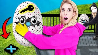 LAST TO DROP Wins GAME MASTER Spy Gadget Hatchimals from 45ft! (Rebecca Zamolo Twin Found Spying)