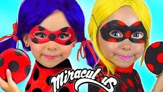 Alice Magic Transform into Miraculous LADYBUG with Costumes Super Hero