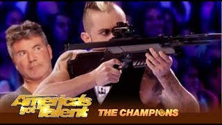 Deadly Games: Man SHOOTS At His Wife and It's Kind Of SEXY! | America's Got Talent: Champions
