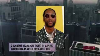 2 Chainz kicks off tour in a pink wheelchair after breaking leg | Rumor Report