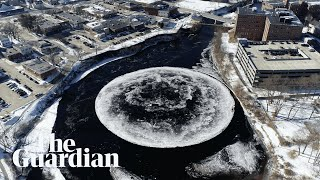 Moon river? Giant, spinning ice disc mesmerises in Maine