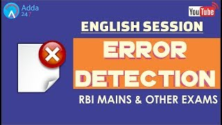 Error Detection For RBI MAINS & OTHER EXAMS
