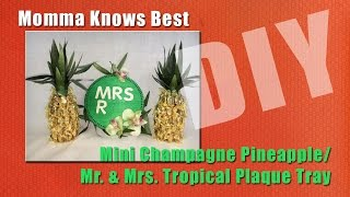 Mini Champagne Pineapple & Mr. & Mrs. Tropical Plaque Tray