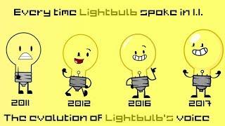 Everytime Lightbulb spoke in Inanimate Insanity [Evolution of Lightbulb's voice]