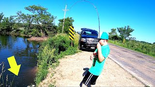 8 Year Old Fights BIGGEST FISH EVER from Roadside Drain!!!