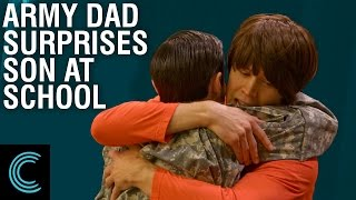 Army Dad Surprises Son at School