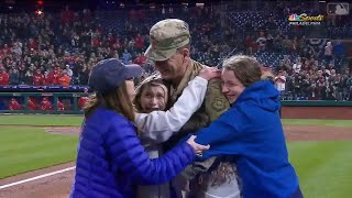 Air Force Dad Scores Standing Ovation After Surprising Family at Phillies Game