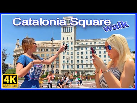【4K】WALK CATALONIA Square BARCELONA Spain 4K video TRAVEL vlog