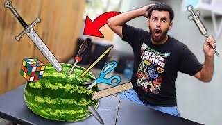 Using RANDOM Objects As Throwing WEAPONS!! (WILL IT STICK CHALLENGE!!)