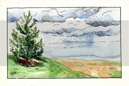 Pine Tree by Work - Watercolor Sketch